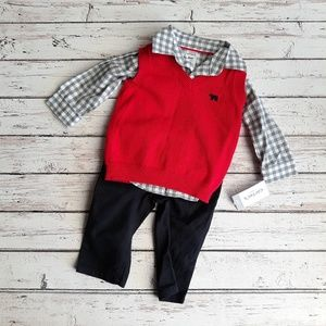 NWT CARTERS 3 Piece Boys Red Vest Set 6M